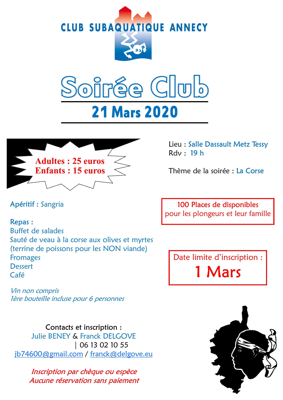 SOIREE CLUB @ Centre Sportif Dassault